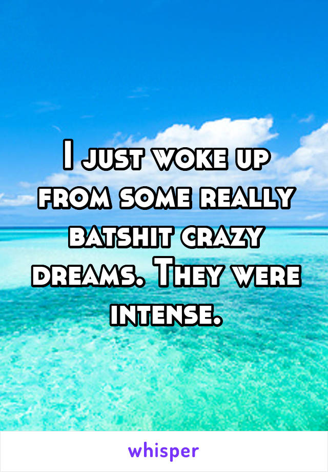 I just woke up from some really batshit crazy dreams. They were intense.