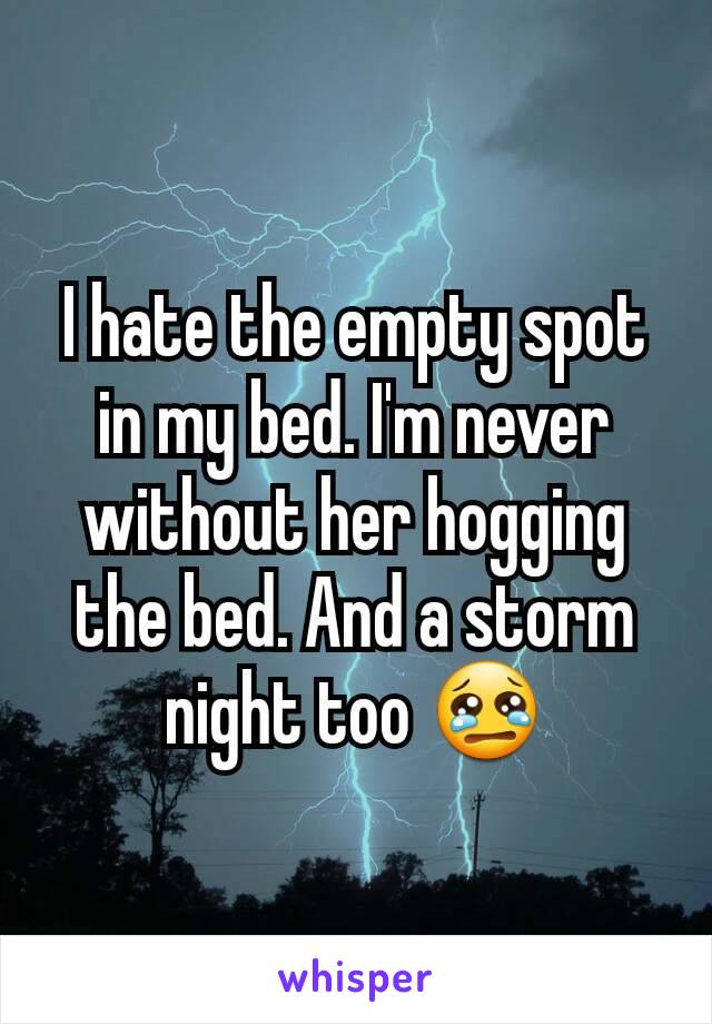 I hate the empty spot in my bed. I'm never without her hogging the bed. And a storm night too 😢