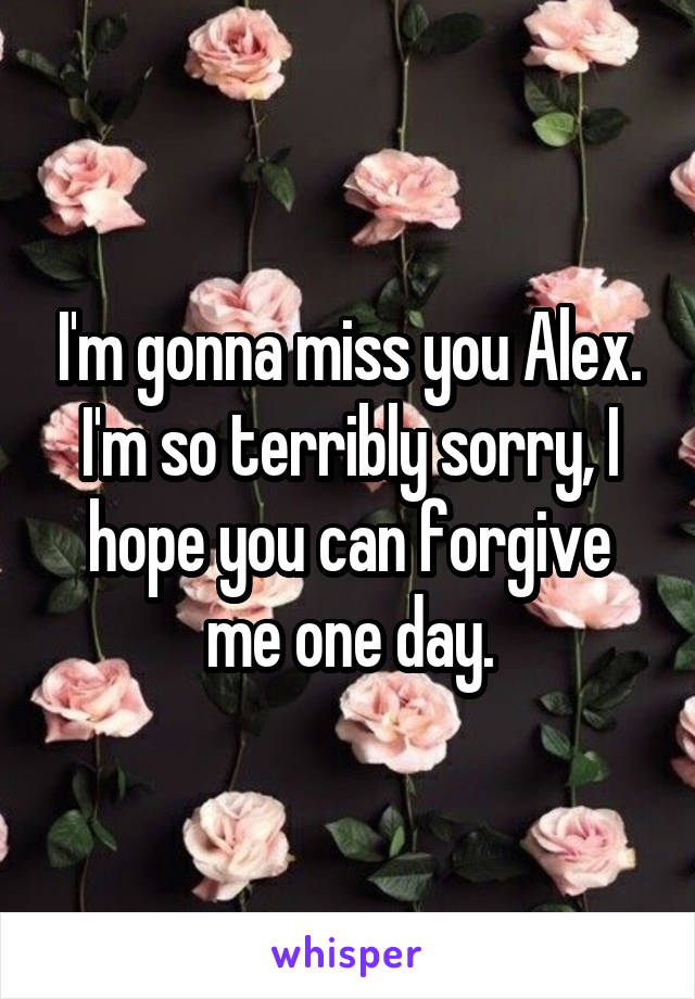 I'm gonna miss you Alex. I'm so terribly sorry, I hope you can forgive me one day.