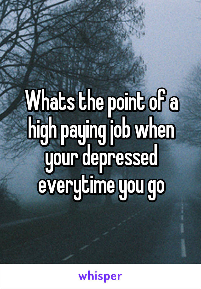 Whats the point of a high paying job when your depressed everytime you go