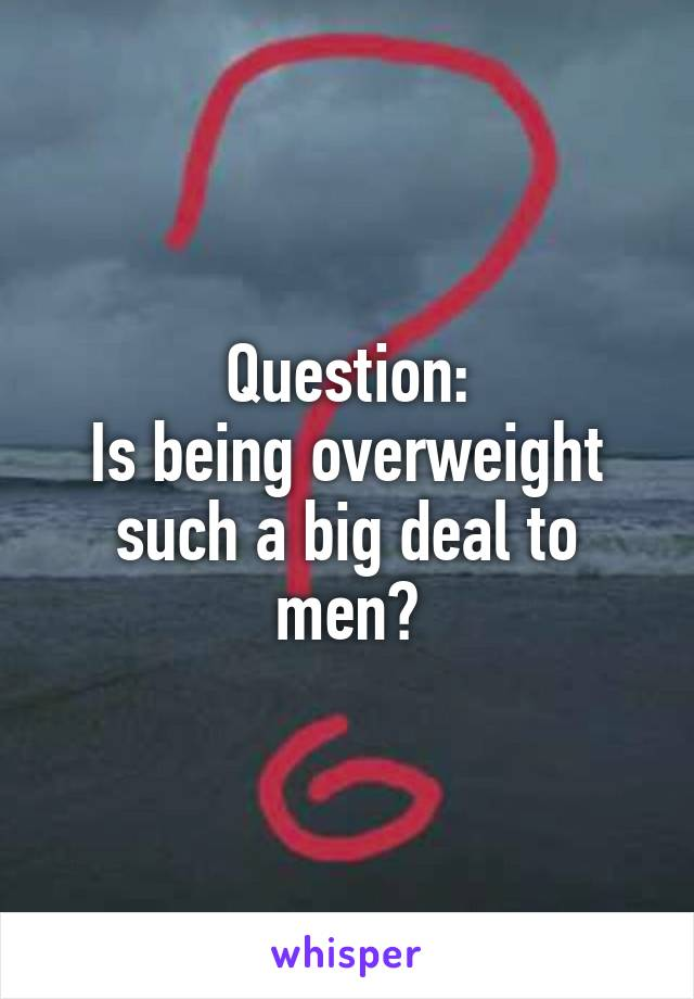Question: Is being overweight such a big deal to men?