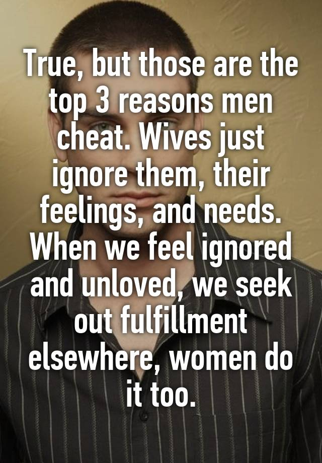 Top reasons men cheat