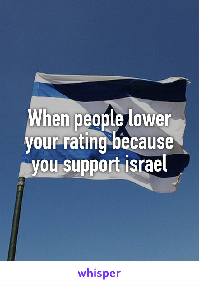 When people lower your rating because you support israel