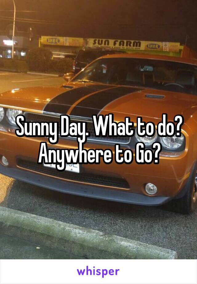Sunny Day. What to do? Anywhere to Go?