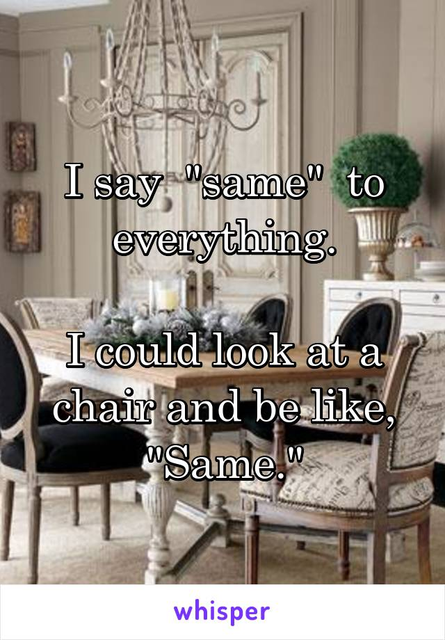"""I say  """"same""""  to everything.  I could look at a chair and be like, """"Same."""""""