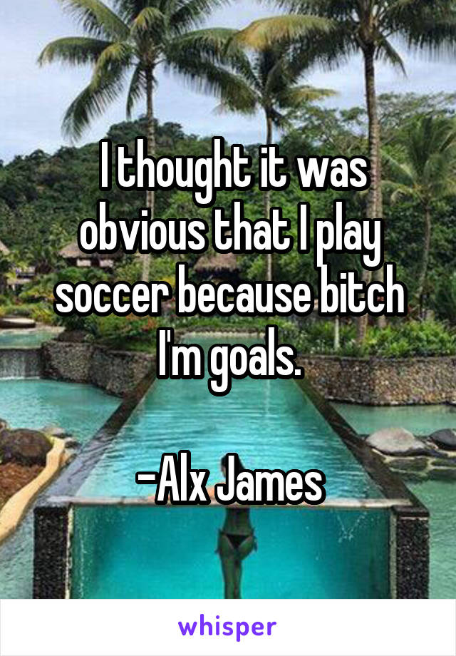 I thought it was obvious that I play soccer because bitch I'm goals.  -Alx James