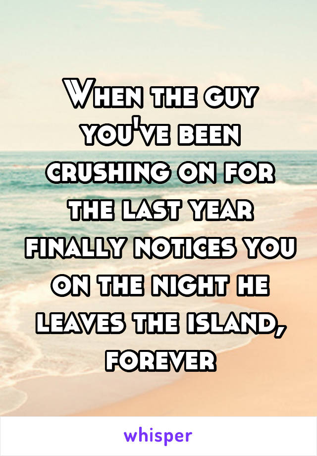 When the guy you've been crushing on for the last year finally notices you on the night he leaves the island, forever