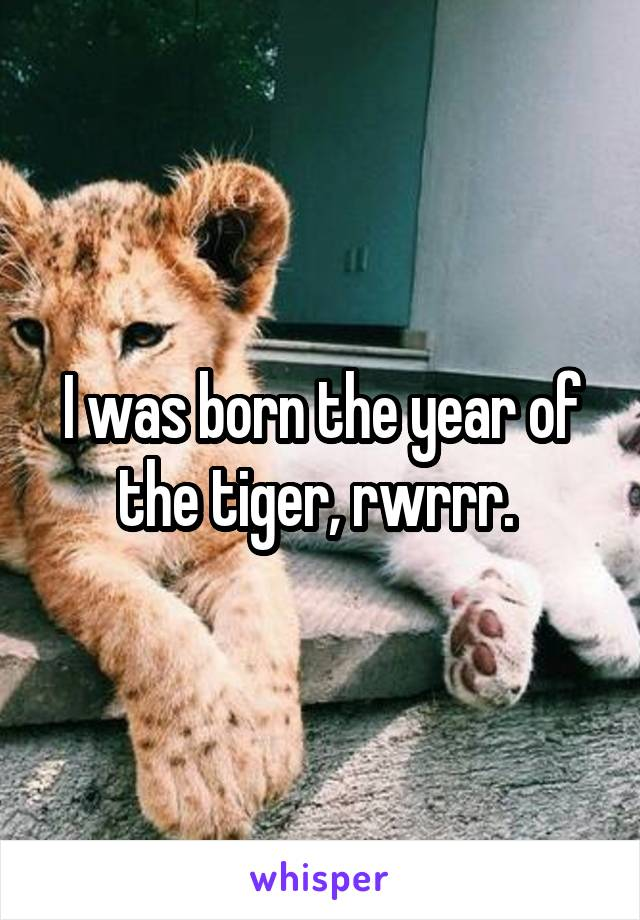 I was born the year of the tiger, rwrrr.