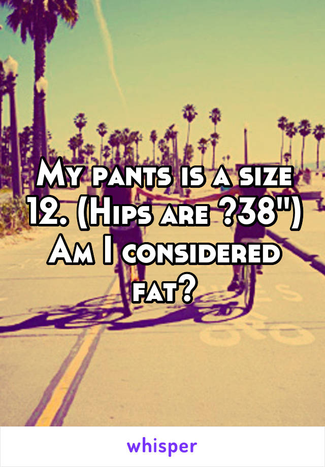 My pants is a size 12. (Hips are ~38'') Am I considered fat?