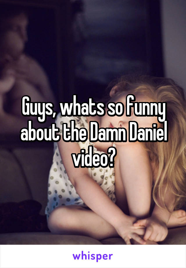 Guys, whats so funny about the Damn Daniel video?