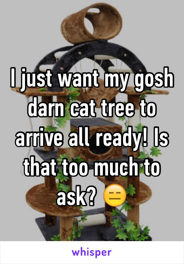 I just want my gosh darn cat tree to arrive all ready! Is that too much to ask? 😑
