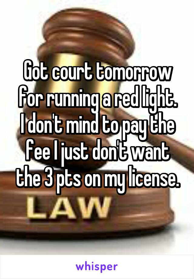 Got court tomorrow for running a red light. I don't mind to pay the fee I just don't want the 3 pts on my license.