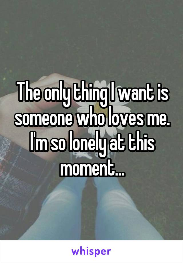 The only thing I want is someone who loves me. I'm so lonely at this moment...