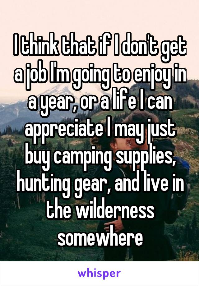 I think that if I don't get a job I'm going to enjoy in a year, or a life I can appreciate I may just buy camping supplies, hunting gear, and live in the wilderness somewhere