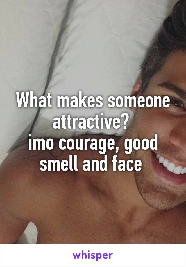 What makes someone attractive?  imo courage, good smell and face