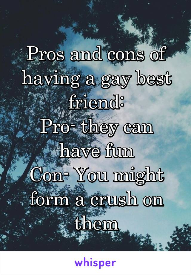 Pros and cons of having a gay best friend: Pro- they can have fun Con- You might form a crush on them