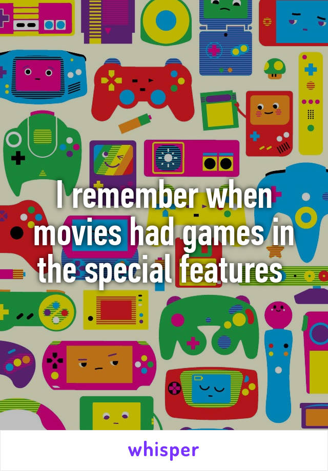 I remember when movies had games in the special features