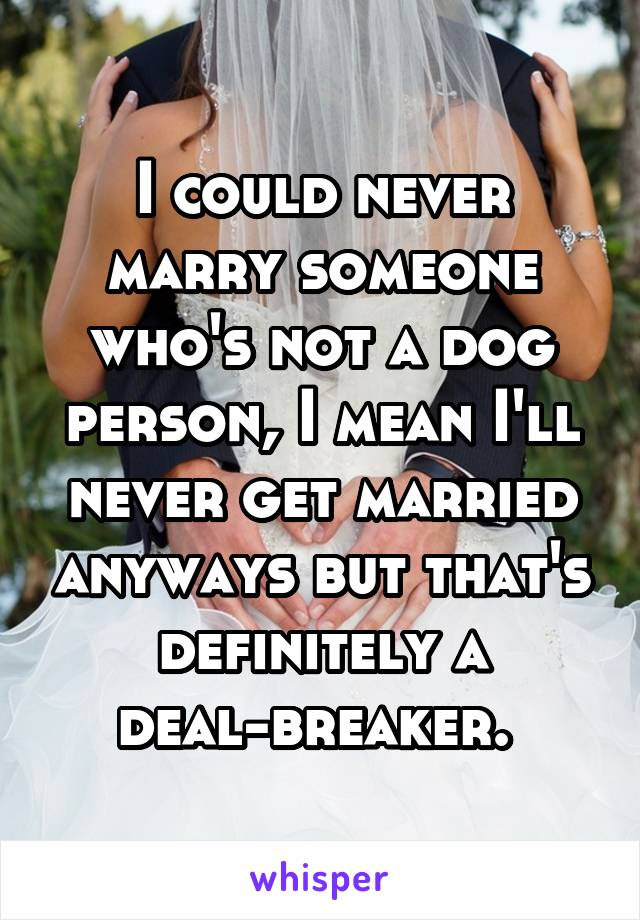 I could never marry someone who's not a dog person, I mean I'll never get married anyways but that's definitely a deal-breaker.