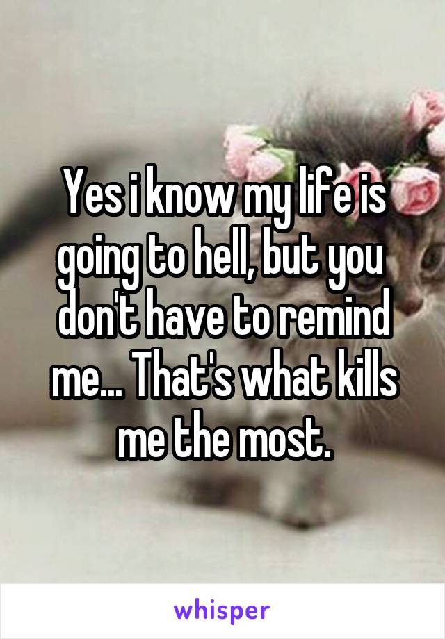 Yes i know my life is going to hell, but you  don't have to remind me... That's what kills me the most.