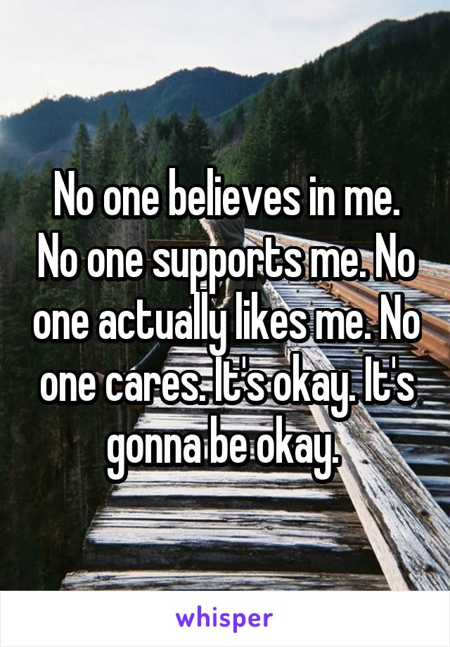 No one believes in me. No one supports me. No one actually likes me. No one cares. It's okay. It's gonna be okay.