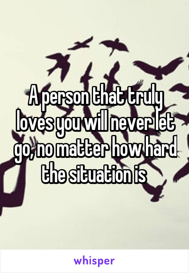 A person that truly loves you will never let go, no matter how hard the situation is