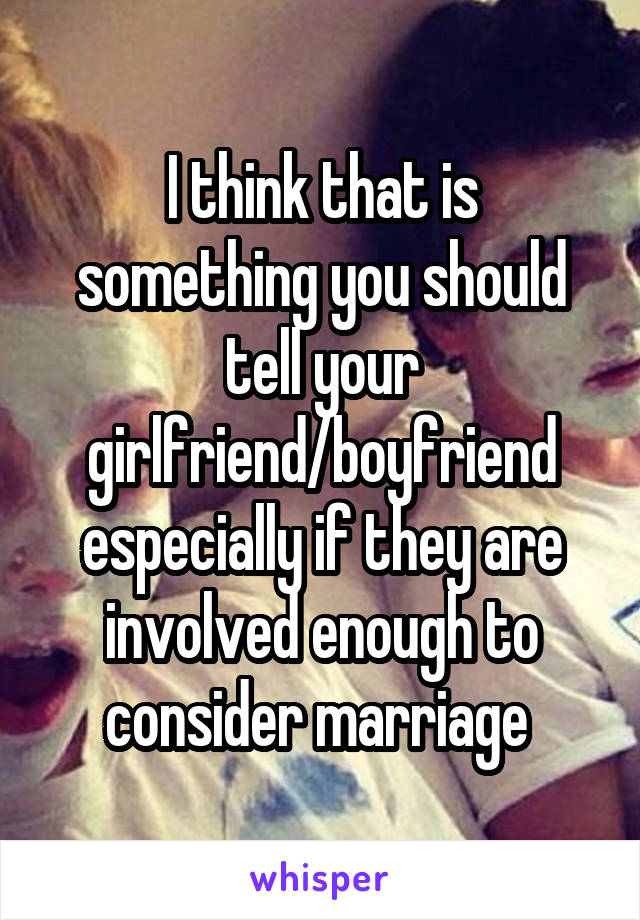 I think that is something you should tell your girlfriend/boyfriend especially if they are involved enough to consider marriage