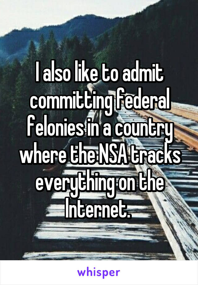 I also like to admit committing federal felonies in a country where the NSA tracks everything on the Internet.