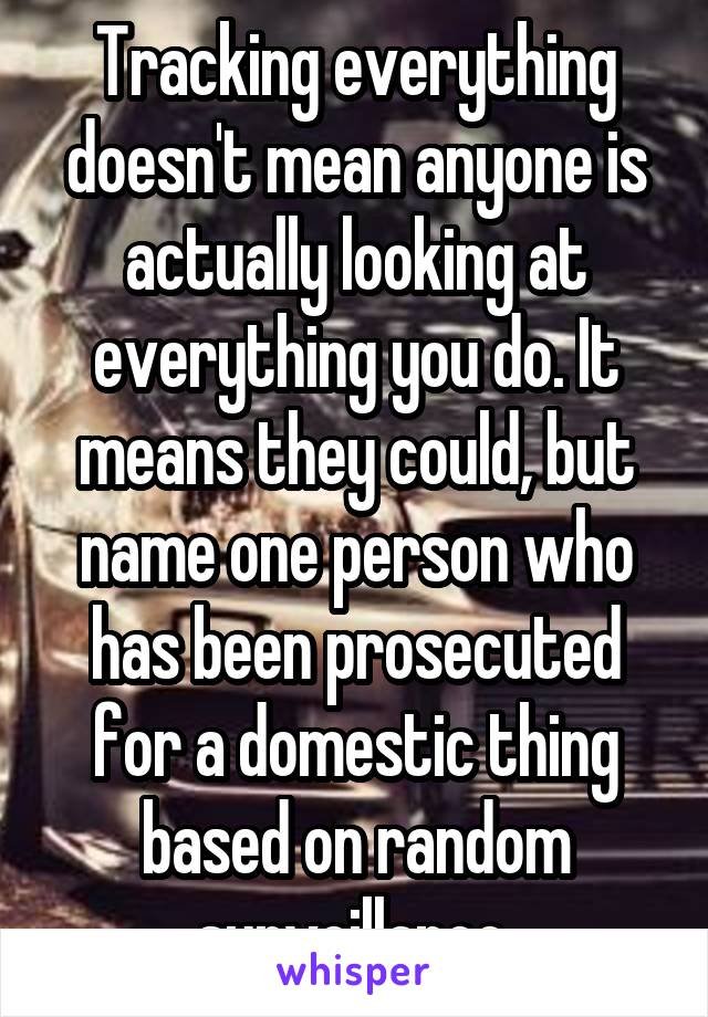 Tracking everything doesn't mean anyone is actually looking at everything you do. It means they could, but name one person who has been prosecuted for a domestic thing based on random surveillance.