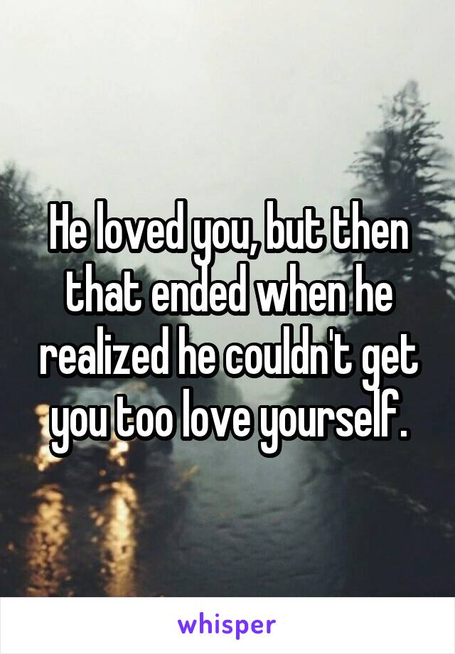 He loved you, but then that ended when he realized he couldn't get you too love yourself.