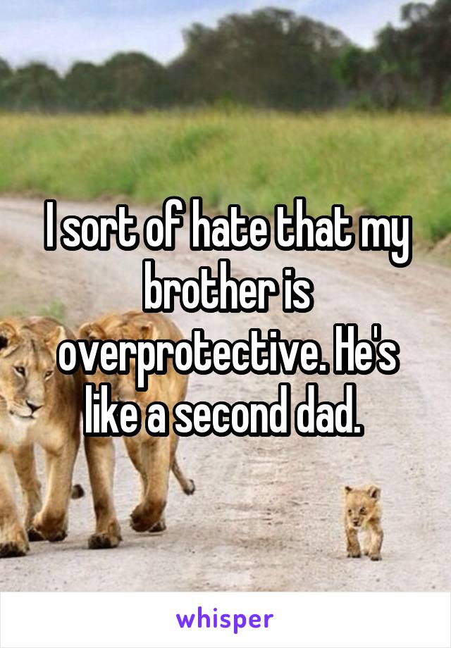 I sort of hate that my brother is overprotective. He's like a second dad.