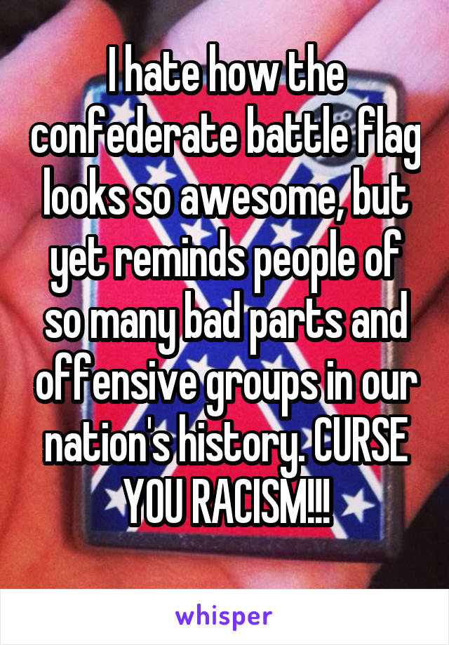 I hate how the confederate battle flag looks so awesome, but yet reminds people of so many bad parts and offensive groups in our nation's history. CURSE YOU RACISM!!!