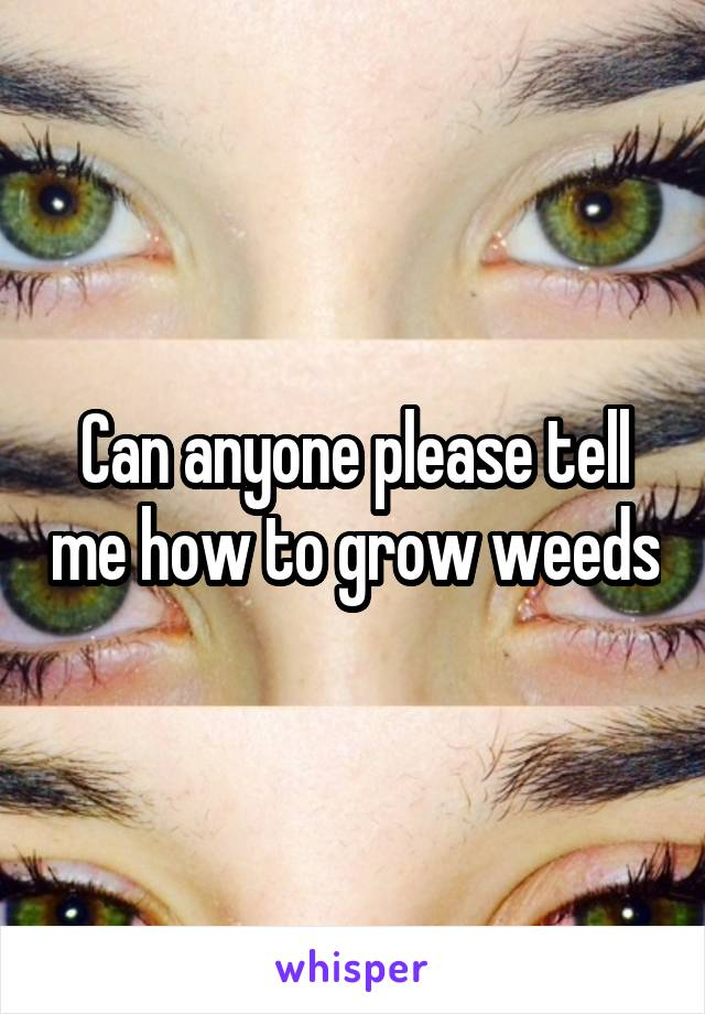 Can anyone please tell me how to grow weeds