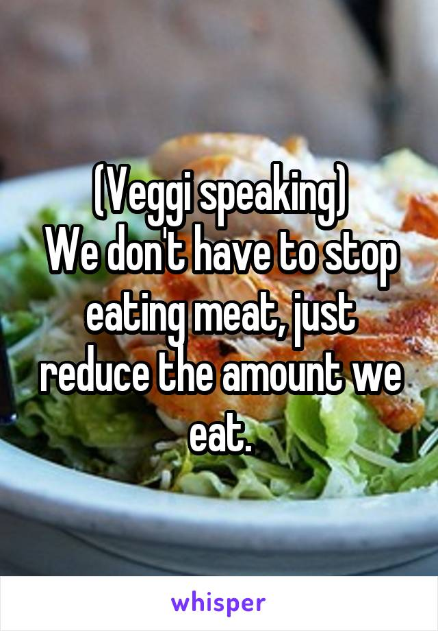 (Veggi speaking) We don't have to stop eating meat, just reduce the amount we eat.