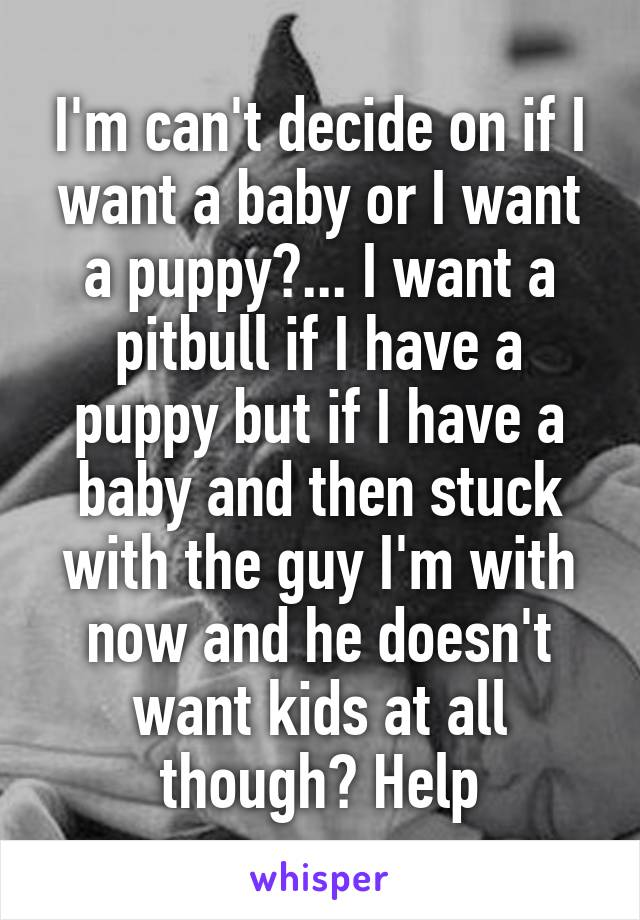 I'm can't decide on if I want a baby or I want a puppy?... I want a pitbull if I have a puppy but if I have a baby and then stuck with the guy I'm with now and he doesn't want kids at all though? Help