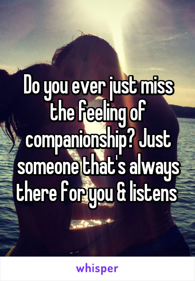 Do you ever just miss the feeling of companionship? Just someone that's always there for you & listens
