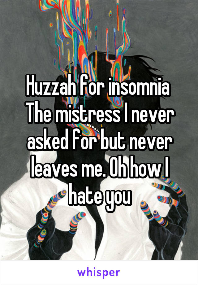 Huzzah for insomnia  The mistress I never asked for but never leaves me. Oh how I hate you