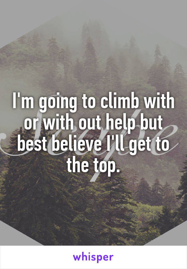 I'm going to climb with or with out help but best believe I'll get to the top.