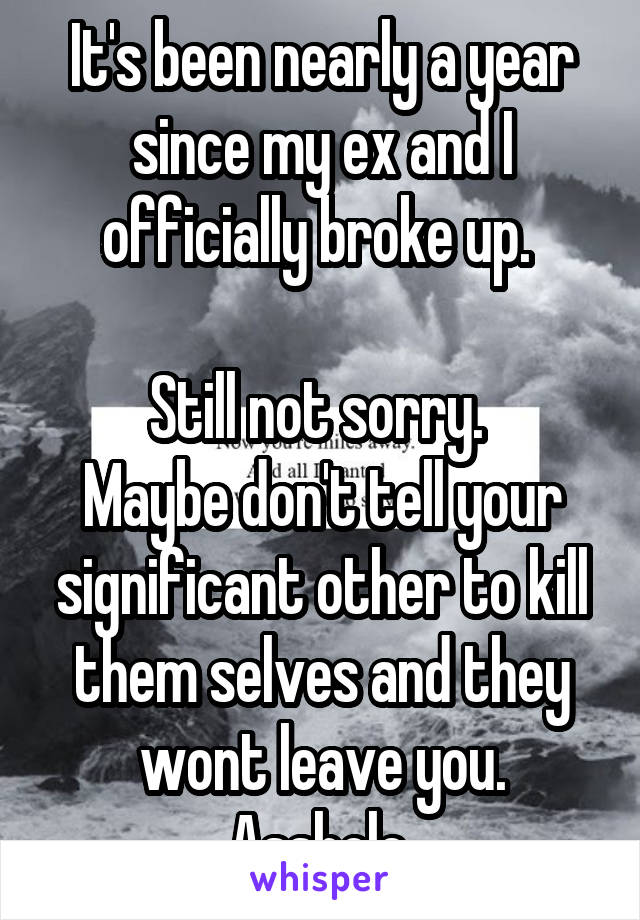 It's been nearly a year since my ex and I officially broke up.   Still not sorry.  Maybe don't tell your significant other to kill them selves and they wont leave you. Asshole.