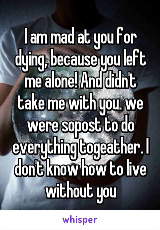 I am mad at you for dying, because you left me alone! And didn't take me with you. we were sopost to do everything togeather. I don't know how to live without you