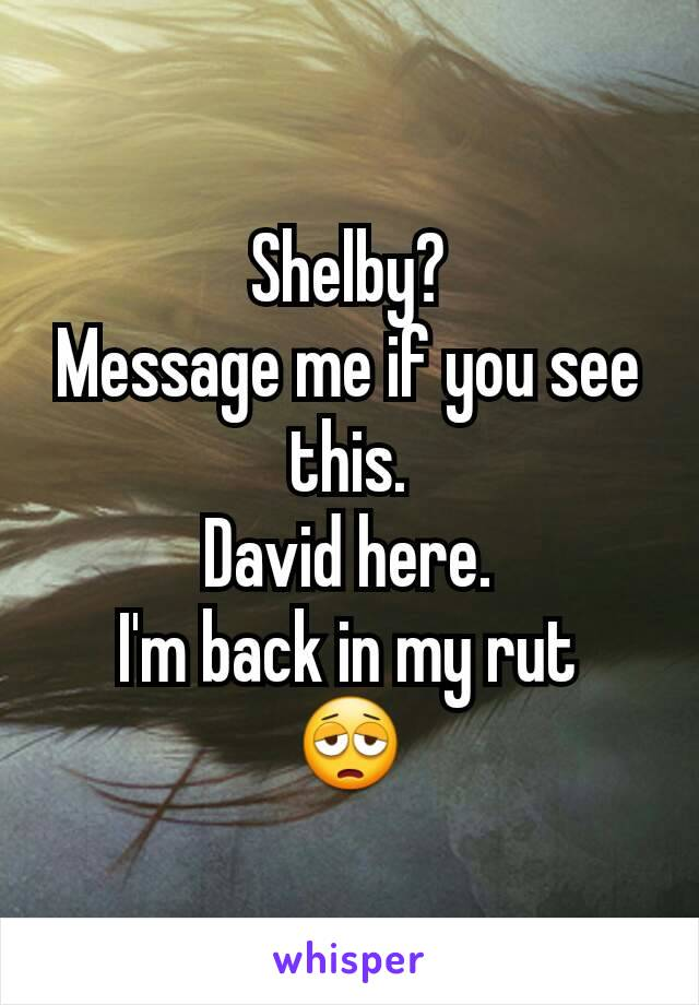 Shelby? Message me if you see this. David here. I'm back in my rut 😩