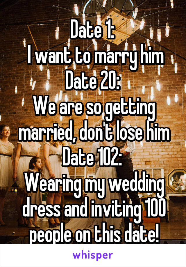 Date 1:   I want to marry him Date 20:  We are so getting married, don't lose him Date 102:  Wearing my wedding dress and inviting 100 people on this date!