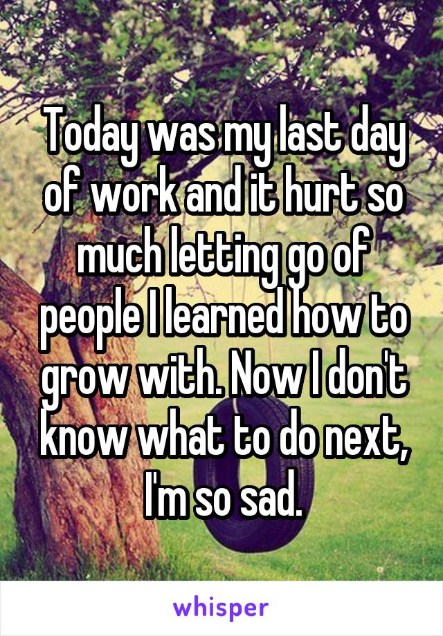 Today was my last day of work and it hurt so much letting go of people I learned how to grow with. Now I don't know what to do next, I'm so sad.