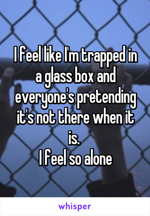 I feel like I'm trapped in a glass box and everyone's pretending it's not there when it is.  I feel so alone