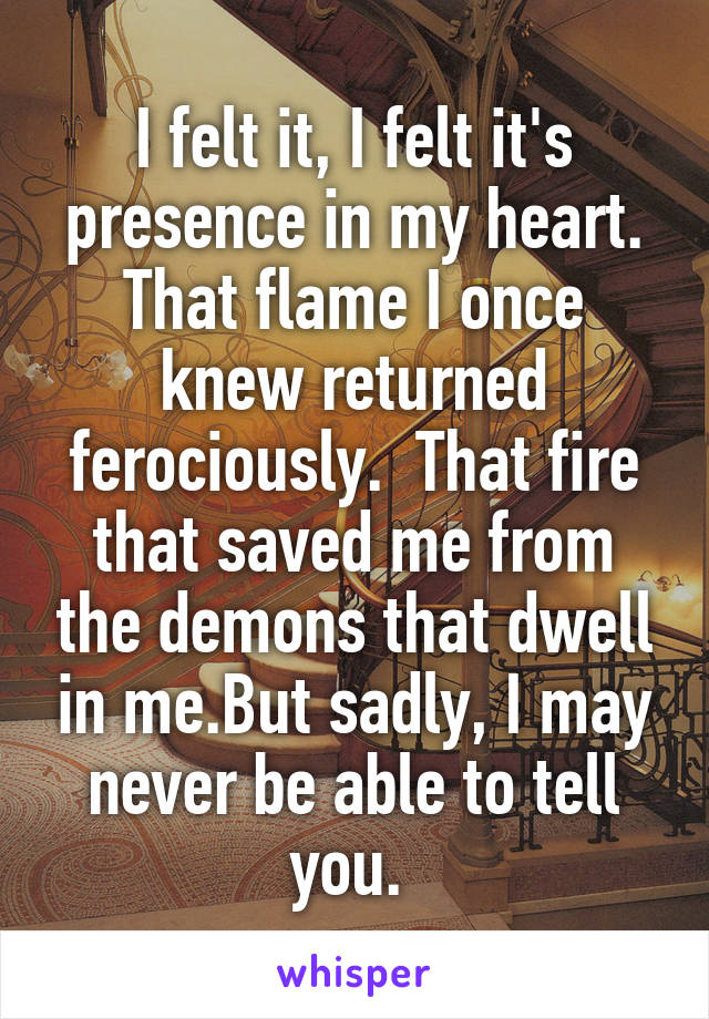 I felt it, I felt it's presence in my heart. That flame I once knew returned ferociously.  That fire that saved me from the demons that dwell in me.But sadly, I may never be able to tell you.