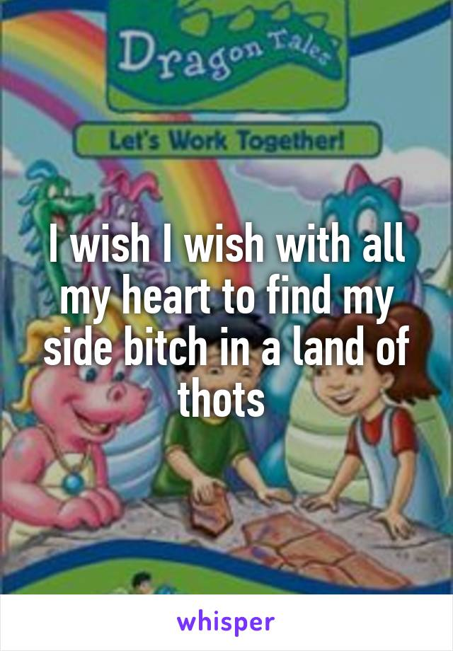 I wish I wish with all my heart to find my side bitch in a land of thots