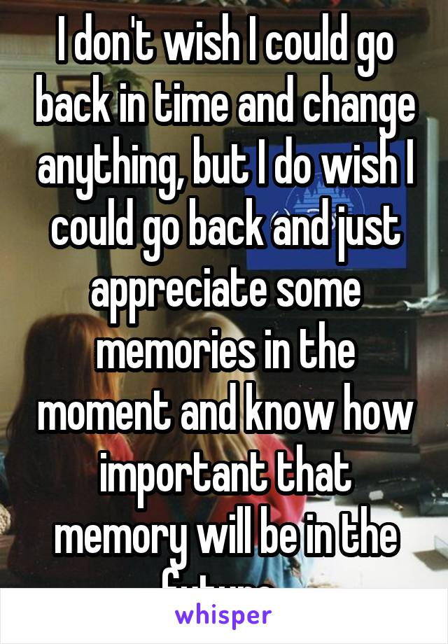 I don't wish I could go back in time and change anything, but I do wish I could go back and just appreciate some memories in the moment and know how important that memory will be in the future.