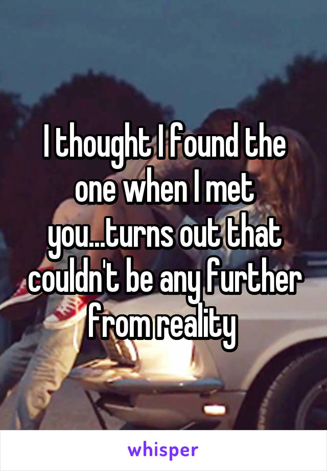 I thought I found the one when I met you...turns out that couldn't be any further from reality