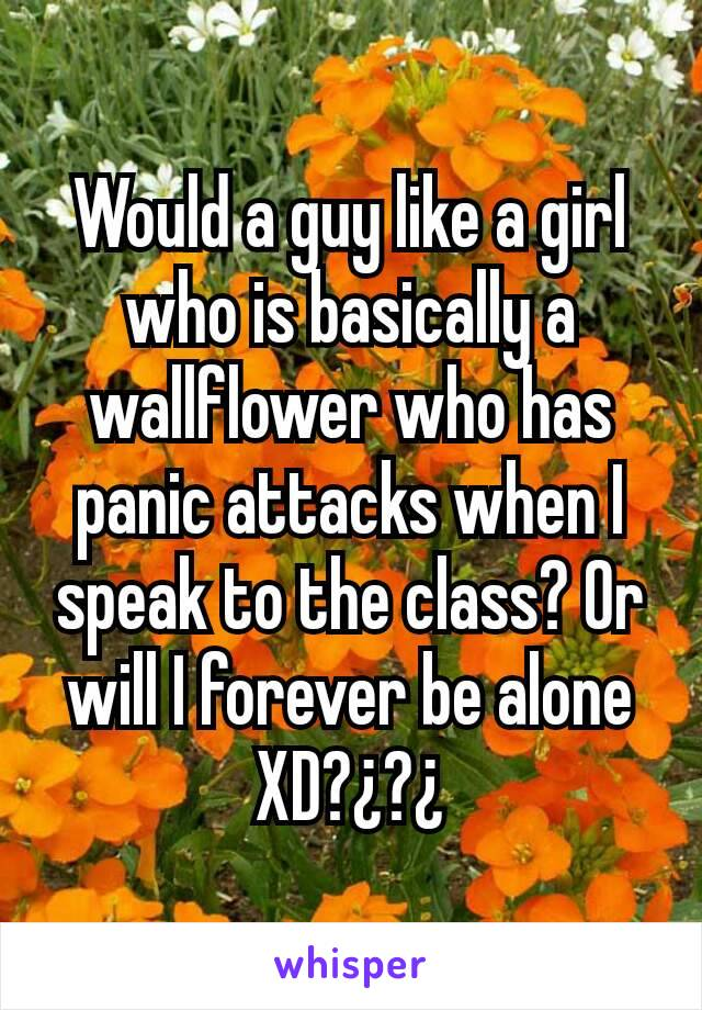 Would a guy like a girl who is basically a wallflower who has panic attacks when I speak to the class? Or will I forever be alone XD?¿?¿