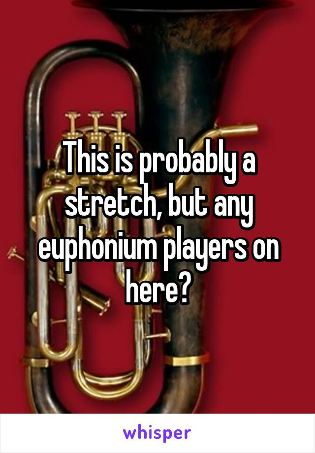 This is probably a stretch, but any euphonium players on here?