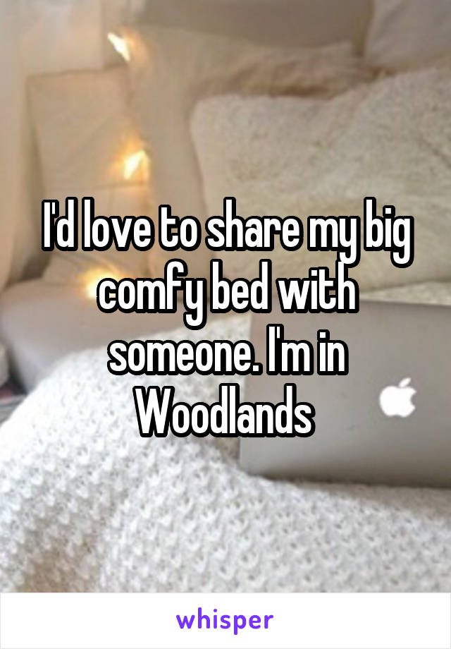 I'd love to share my big comfy bed with someone. I'm in Woodlands